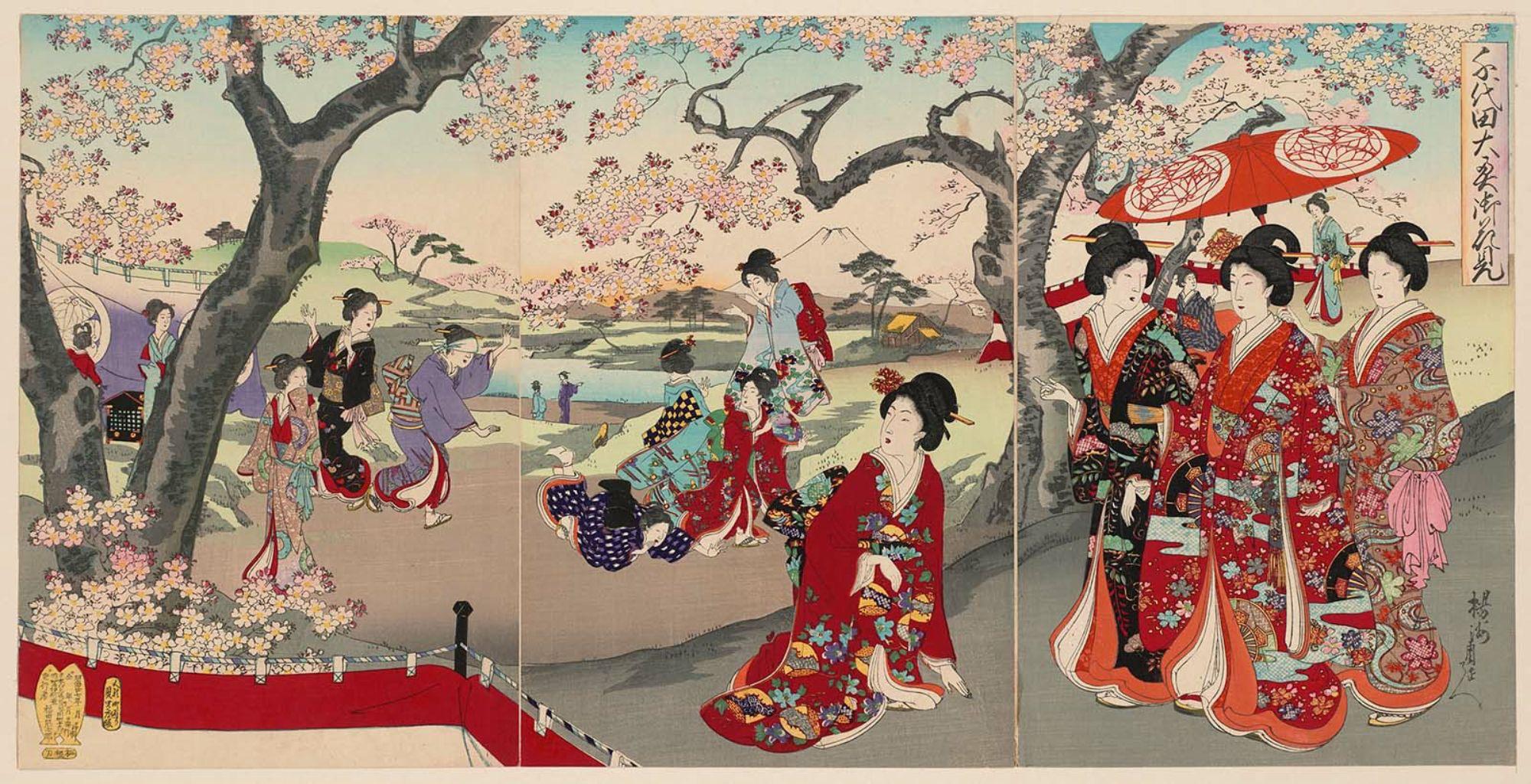 Χανάμι, σε έργο του Τογιοχάρα Τσικανόμπου 豊原周延 (1838–1912)