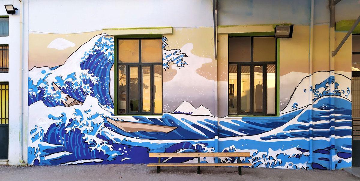北斎の浮世絵、ギリシャ・アルゴスの小学校の壁画に - ギリシャ-日本 ...