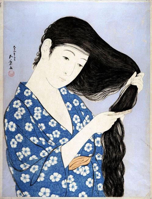 Χασιγκούτσι Γκογιό, Γυναίκα ποὺ χτενίζεται (1920)